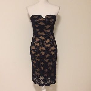 Rebecca Taylor Strapless Blk/Nude Lace Dress!!